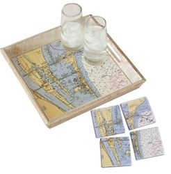 Wood Tray & Coaster Gift Set - Customize Location