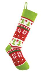 Tree Fair Isle Knit Christmas Stocking<font color =a8bb35> Sold out</font>