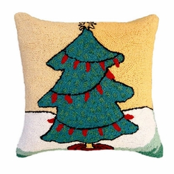 Tree with Red Lights pillow