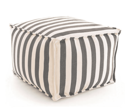 Trimaran Charcoal/Ivory Indoor/Outdoor Pouf