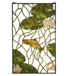 Trout and Waterlilies Stained Glass Window