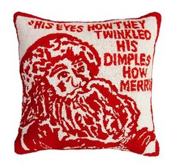Twinkle Santa Christmas Pillow  <font color=a8bb35> NEW</font>