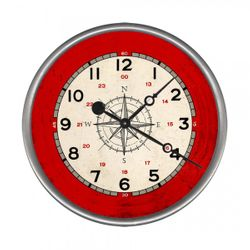 Vintage Compass Rose Clock