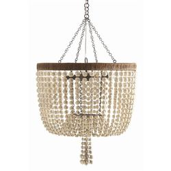 Viola 4L Iron/Ivory Beaded Chandelier