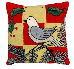 White Bird Christmas Pillow <font color=a8bb35> NEW</font>