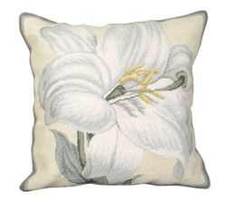 White Day Lily Needlepoint Pillow