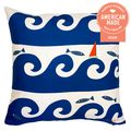 Wild Waves in Blue Pillow
