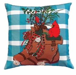 Winter Boots Christmas Pillow