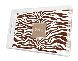 Zebra Chocolate Lucite Tray in Three Sizes