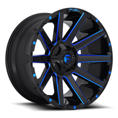 Fuel Off-Road D644 Contra Gloss Black w/Candy Blue Wheel for 2007-2020 Wrangler JK/JL & 2020 Gladiator JT