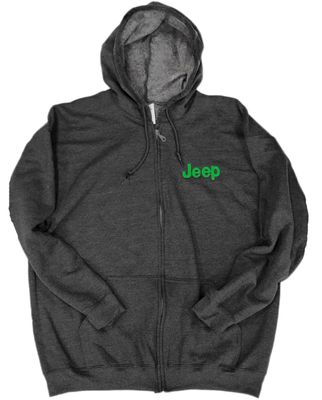 Jeep Logo Zip Up Hoodie with Green Logo