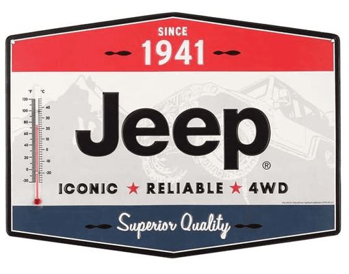 Jeep Embossed Metal Tin Thermometer Sign