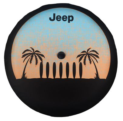 JL Wrangler Surf & Palm Tree Jeep Tire Cover