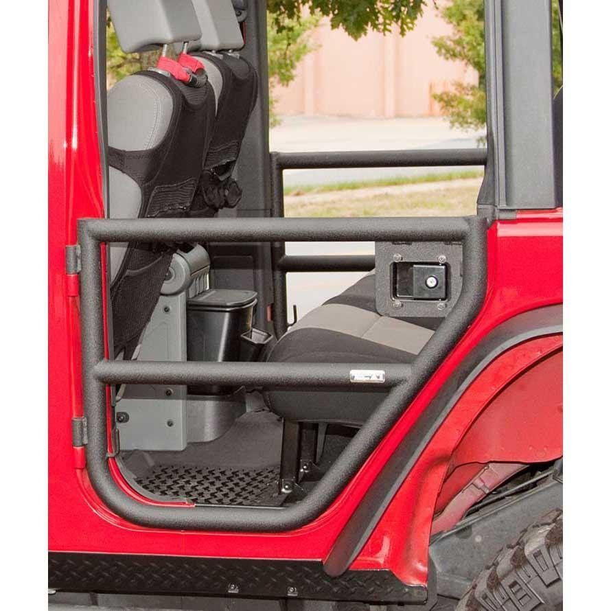 Rugged Ridge Rear Tube Doors, Textured Black; 2007-2018 Jeep Wrangler JKU
