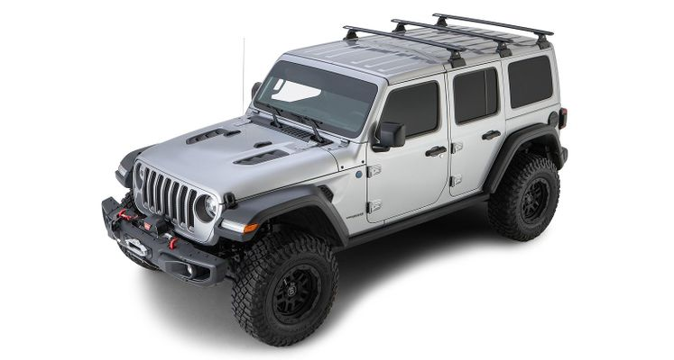 Rhino Rack Vortex RLT600 Black 3 Bar Backbone Roof Rack for 2018-2020 Wrangler JL 4 Door