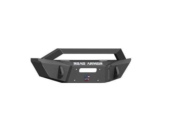 Road Armor Stealth Front Winch Bumper Sheetmetal Bar Guard Competition Cut in Texture Black for 2007-2018 Wrangler JK, 2018-2021 Wrangler JL, and 2020 Gladiator JT