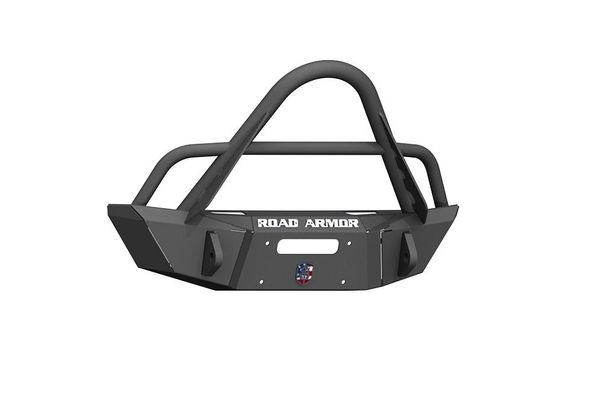 Road Armor Stealth Front Winch Bumper Stinger Guard Competition Cut in Texture Black for 2007-2018 Wrangler JK, 2018-2021 Wrangler JL, and 2020 Gladiator JT