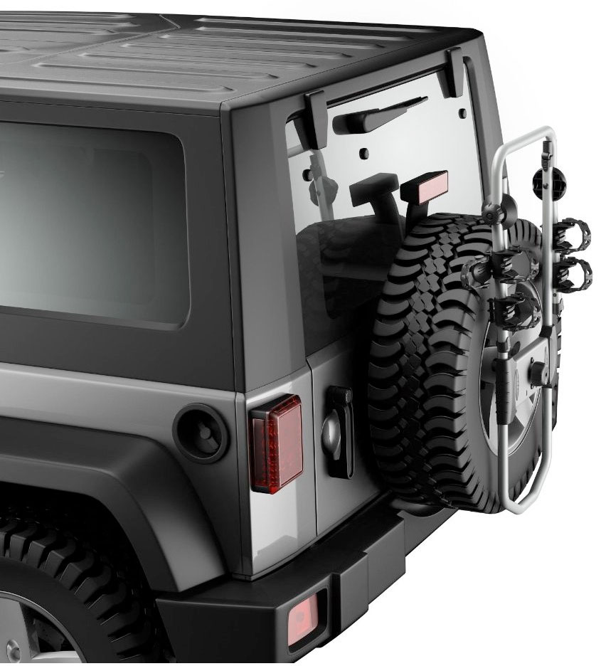 Thule Bicycle Spare Me 963 Tire Mount For Jeep Wrangler Or Liberty White Sahara Lifted With Carrier And Led Tail Lights Tspro963