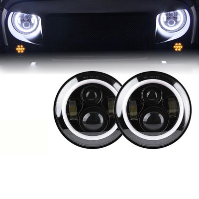 """Xprite 7"""" 80W CREE LED Headlights With Halo"""
