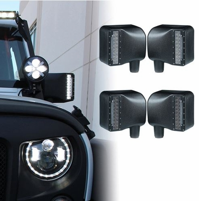 Xprite Smoke Lens LED Side Mirror with White Spot Lights and Amber Turn Signal Lights For Wrangler JK