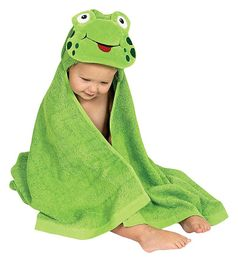 Am Pm Kids by Mullins Square Hodded Green Frog Baby & Toddler Towel Gift
