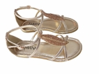 Amiana Metallic Gold Leaf  Design  Girls Sandals  2 5 7 Youth