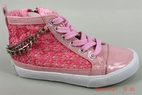 Amiana Pink Girls High Tops Shoes w/ Lace & Chain Trim 12 13