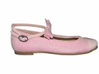 Amiana Elegant Pink Glitter Ankle Strap Bow Girls MJ Shoes
