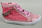 Amiana Pink Lace & China Girls High Top Shoes Sneakers 12 13