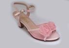 "Amiana Pink Organza Rosette Girls 2"" Heel Sandals Wedding  1 4 yth"