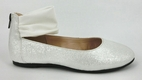 Amiana Silver Beautiful Girls Shoes/Flats w/White Ankle Strap