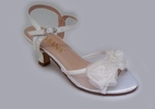 Amiana White Satin Rosettes Sandals w 2 Inch Heels 1 3 4 5 6 Youth