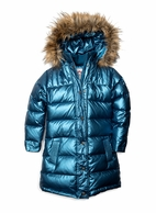 Appaman Girls Hooded Metallic Blue Long Down Winter Coat 6 12 14