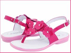Aster Shoes Fuschia patent Leather Thong Sandals w/Flowers sz 8 13