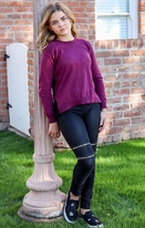 Autumn Cashmere Garnet Girls Sweater w/Pleated Ruffle 10 14