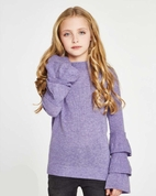 Autumn Cashmere Lavender Ruffle Sleeves Girls Sweater 8 14