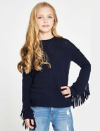 Autumn Cashmere Navy Fringe Merino Wool Girls Sweater