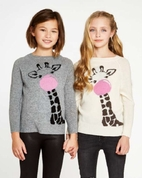 Autumn Cashmere Cream Giraffe Applique Girls Sweater 14