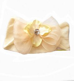 Baby Bling Ivory Organza Bow headband w/Crystal Center
