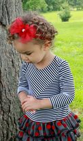 Baby Bling Red Sparkly Mesh Bow headband w/Flower Center