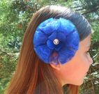 Baby bling Royal Blue Lace Burst Hair Bow on Clip