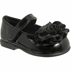 Baby Deer Black Patent MJ Dress Shoes w/satin Flower Infant 2inf