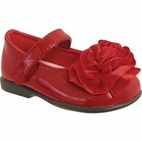 Baby Deer Red Patent Leather MJ Shoes w/Satin Flower Toddler sz 8 last1