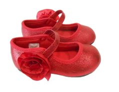 Baby Deer Ruby Red Metallic Girls Mary Jane Shoes  2Inf 9Tdlr