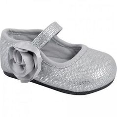 Baby Deer Silver Toddle Little Girls Shoes w/Rosettes
