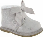 Baby Deer Siver Metallic Faux Fur Trim Boots w/Bow 5Inf 8Tdlr