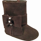 Baby Deer Soft Brown Suede Little Girls Boots w/Bow 3Inf 8 Tdlr 10