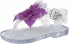 Baby Deer  Clear T-Strap Jelly Sandals w/Purple Flower 2in 12