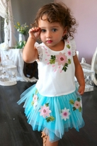 Baby Sara 2pc Pretty Ruffle Top & Blue Embr. Flowers Skirt 12m 24m