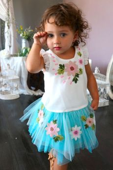 Baby Sara 2pc Pretty Ruffle Top & Blue Embr. Flowers Skirt 24m